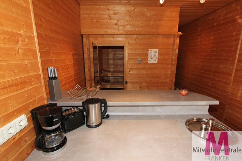 Blick zur Sauna